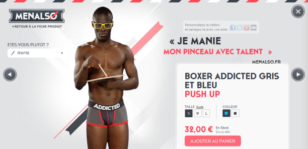 Boxer Addicted Gris et Bleu, Push Up - Menalso